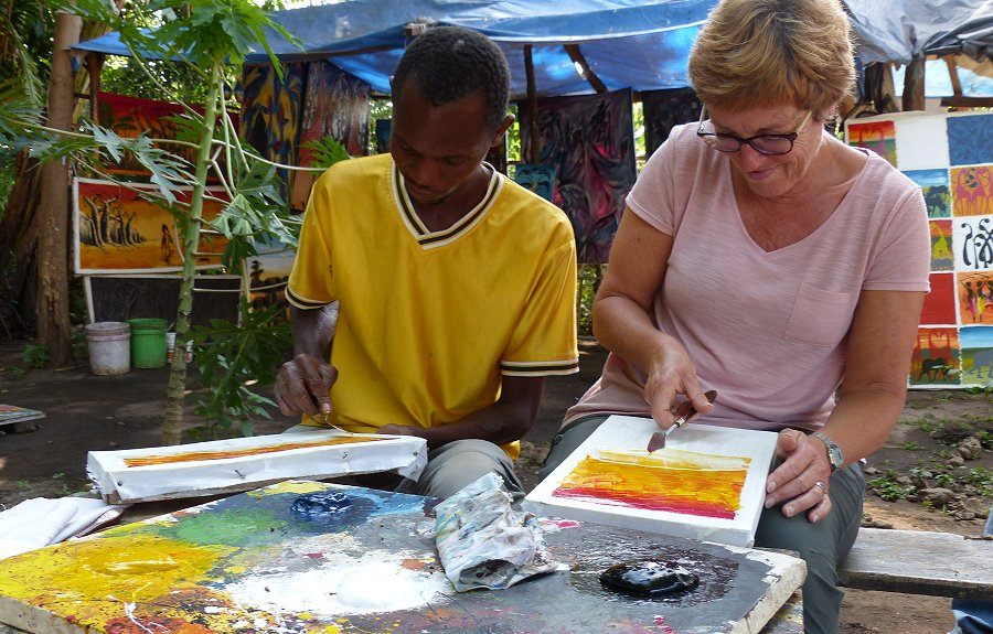 Tribal painting with Mto wa Mbu village walk