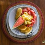 Breakfast with fresh fruits from the market in Mto wa Mbu