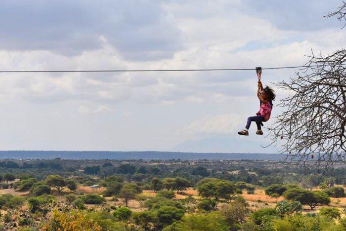 Zipline adventure fly between baobab trees