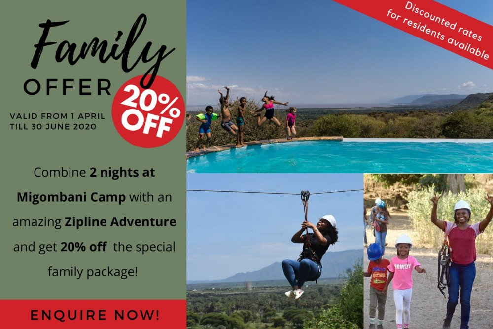 Family offer Migombani Camp and Zipline Adventure